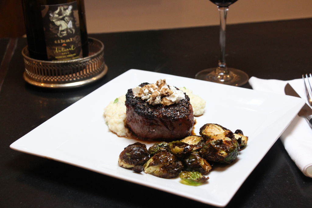 """Oven Baked Filet Mignon with Goat Cheese and Balsamic and Cauliflower """"Mashed Potatoes"""""""