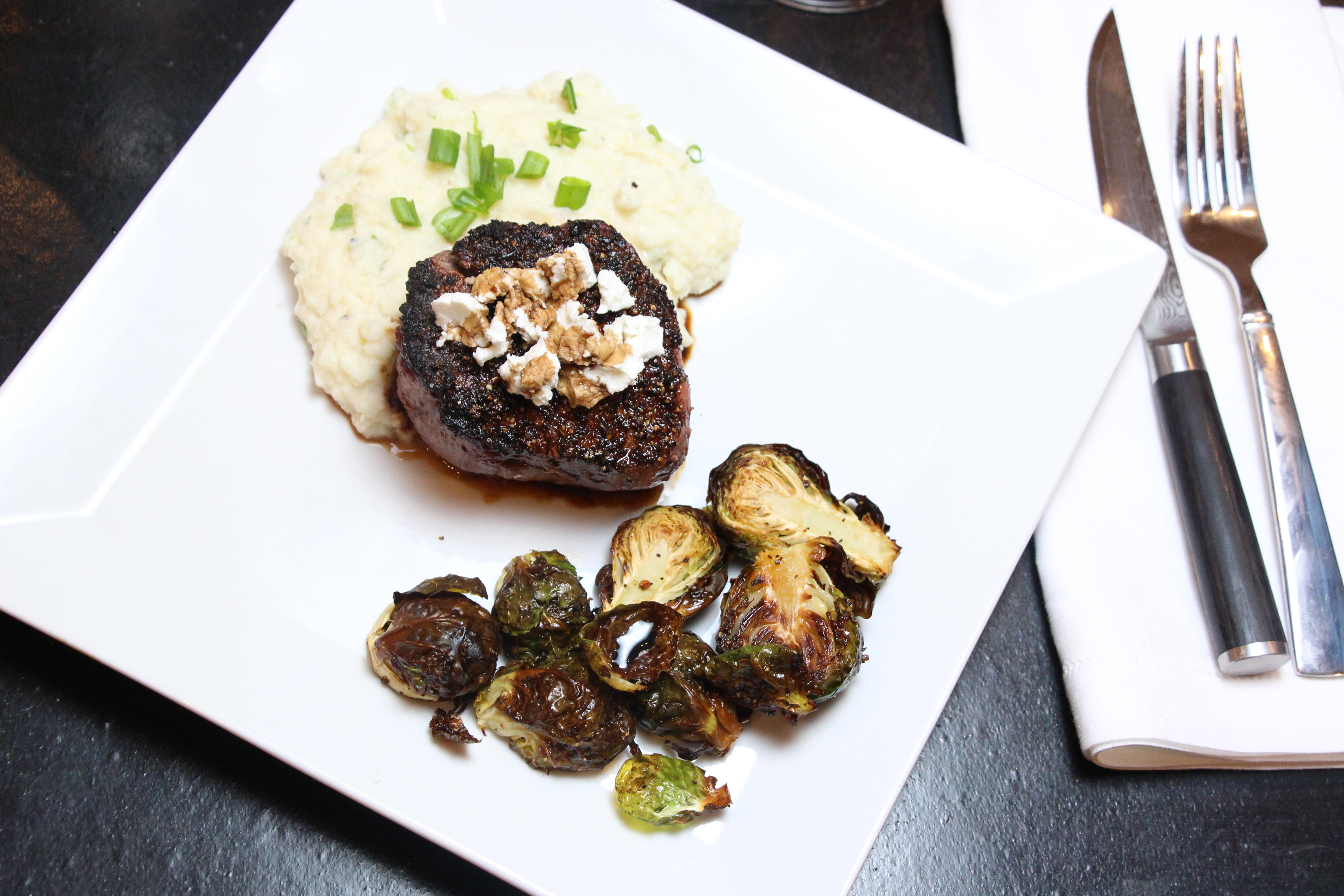 "Oven Baked Filet Mignon with Goat Cheese and Balsamic and Cauliflower ""Mashed Potatoes"""