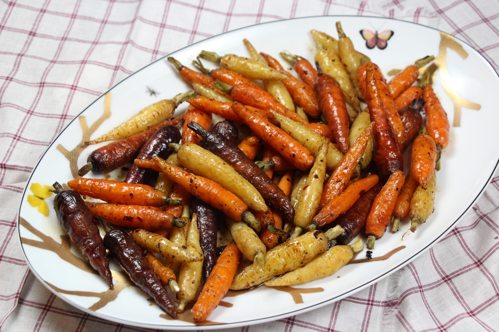 Spicy Balsamic Roasted French Carrots