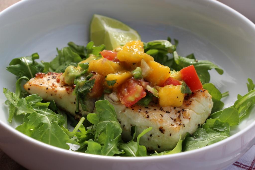 Pan-Seared Halibut with Mango-Avocado Salsa