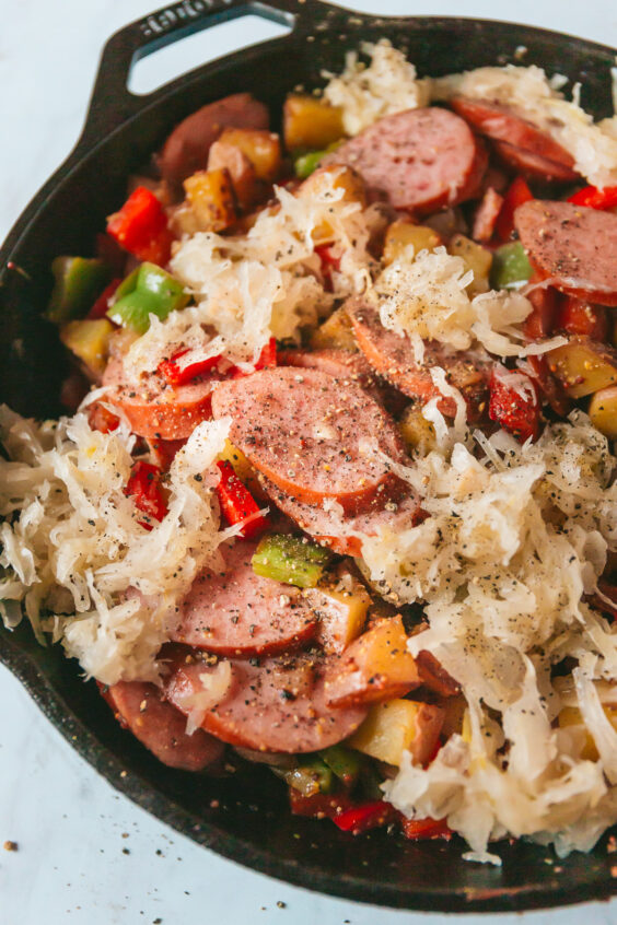 Potato, Pepper, and Kielbasa Skillet with Sauerkraut