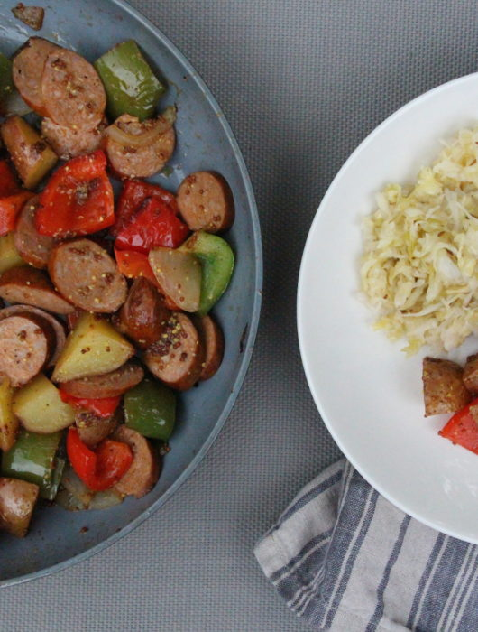 Potato, Pepper, and Kielbasa Skillet with Sauerkraut