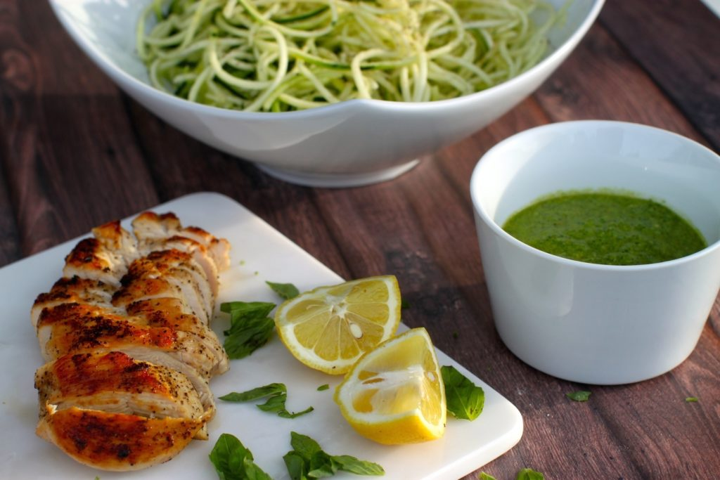 Lemon Basil Pesto Over Chicken & Zoodles