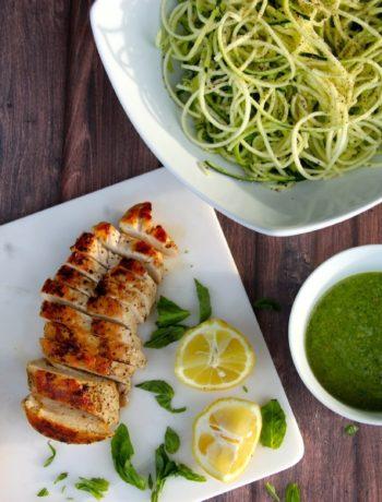 Lemon Basil Pesto Over Chicken & Zoodles