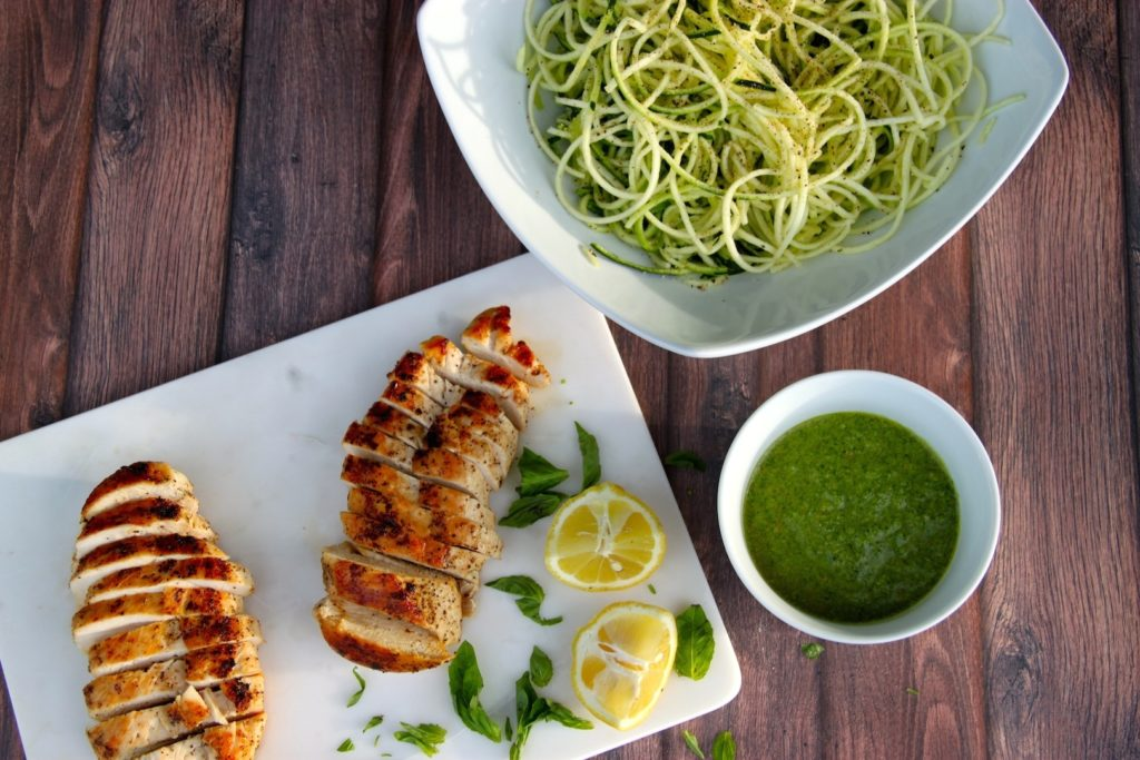Lemon basil pesto over chicken zoodles the defined dish for Zoodles kitchen set