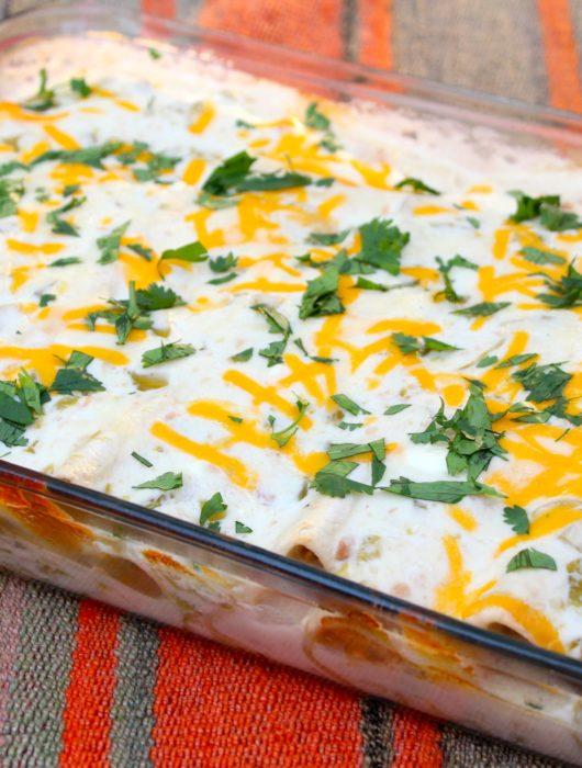 Skinny Sour Cream Chicken Enchiladas