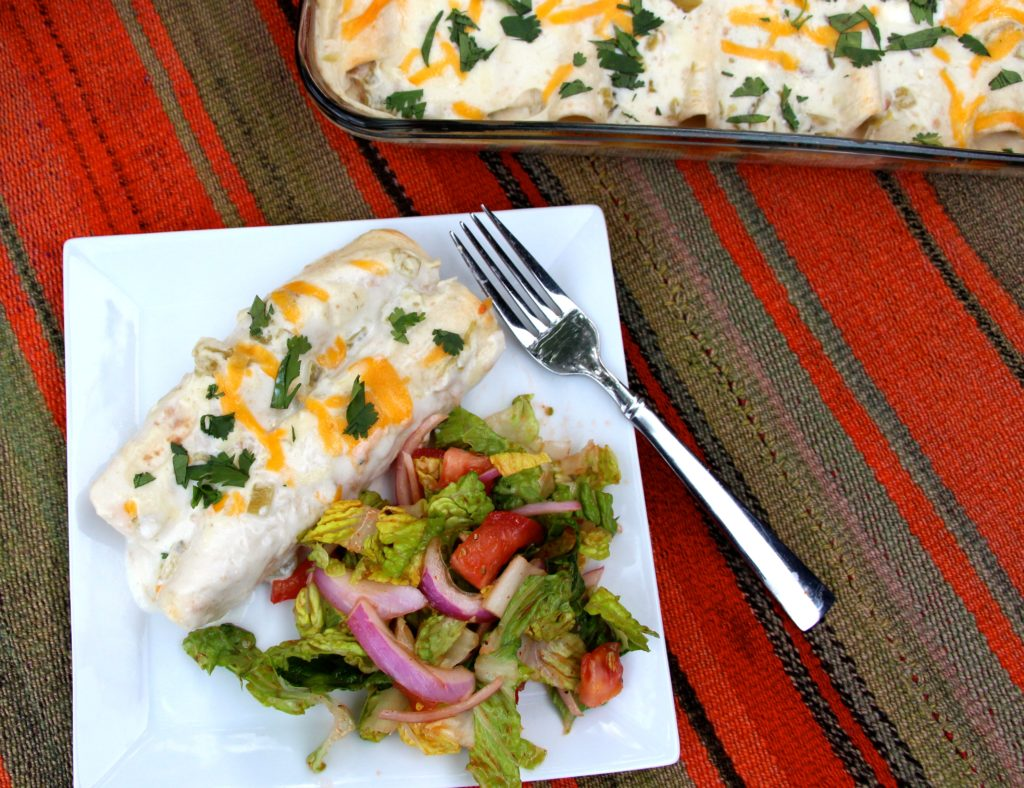 Skinny Sour Cream Chicken Enchiladas