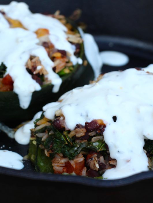 Black Bean Chile Rellenos with Yogurt Mexican Crema