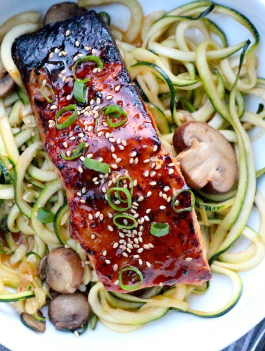 Miso-Glazed Salmon over Stir-Fried Zoodles