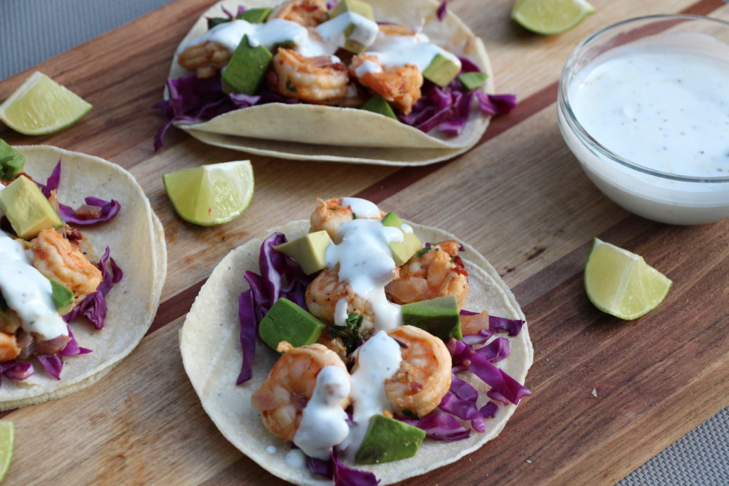 "Chipotle-Lime Shrimp Tacos with Mexican ""Crema"""
