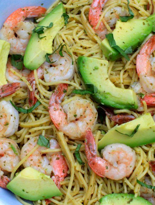 Shrimp, Avocado, and Pesto Pasta