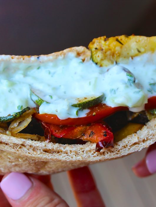 Roasted Vegetable Gyros with Cucumber-Mint Sauce