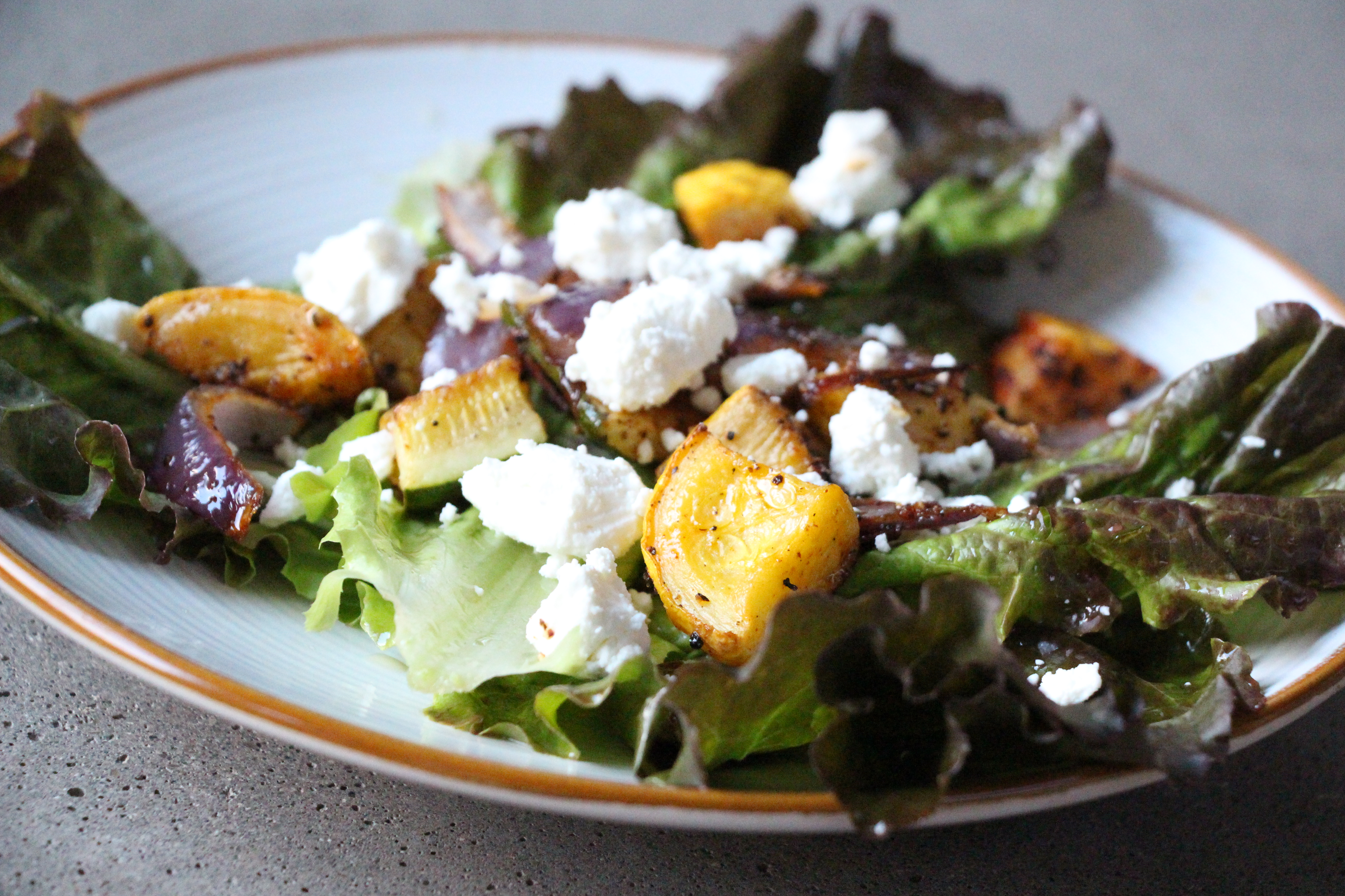 Roasted Summer Vegetable Salad with Goat Cheese