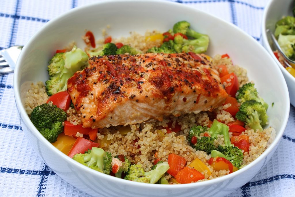 Simple Sriracha Salmon Protein Bowl