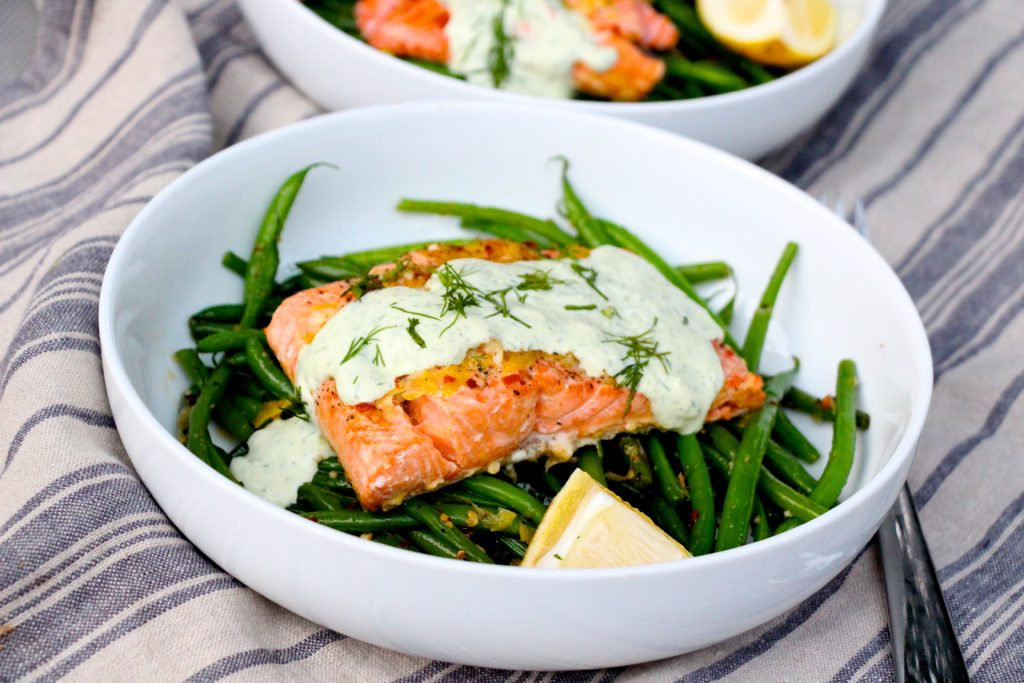 Baked lemon salmon with creamy dill sauce the defined dish for Barefoot contessa fish recipes