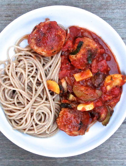 Turkey Meatballs with Loaded Veggie Sauce