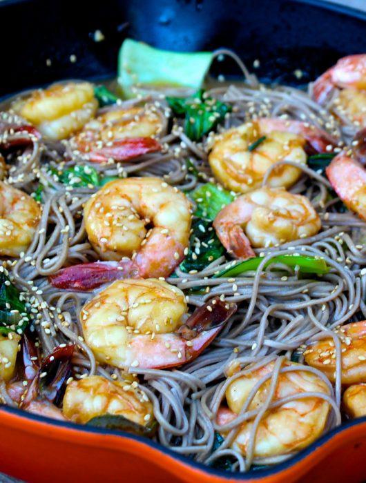 Spicy Shrimp + Soba Noodle Stir-Fry