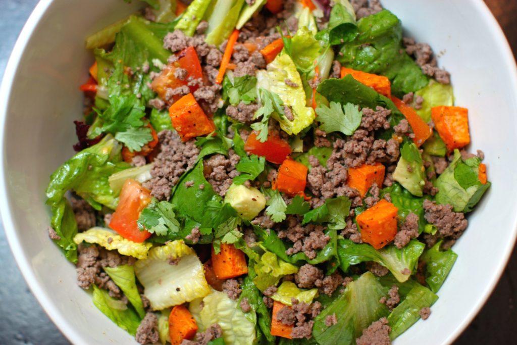 Spicy Ground Bison Salad