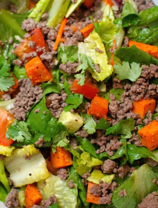 Spicy Ground Bison Salad