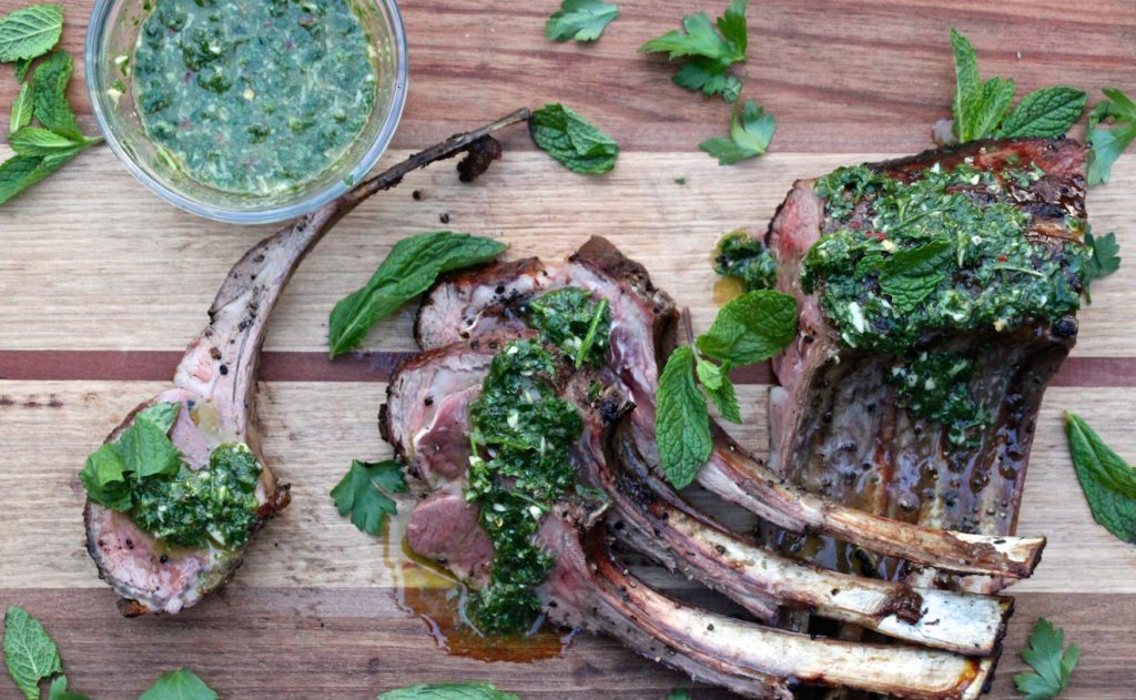 Grilled Rack of Lamb with Mint Chimichurri
