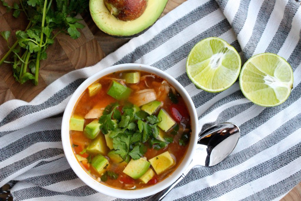 Crockpot Chicken, Avocado, and Lime Soup