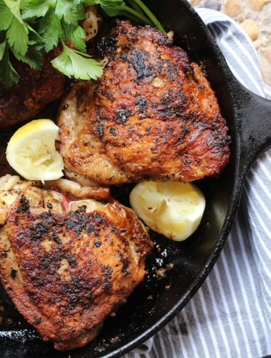 Pan-Roasted Greek Chicken Thighs