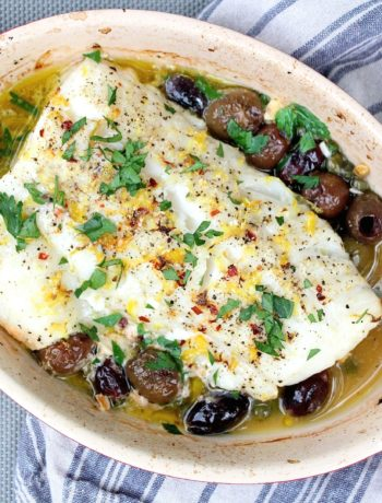 Roasted Cod with Olives, Capers, and Lemon