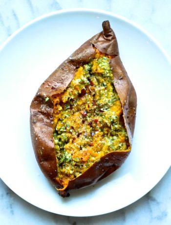 Pesto Baked Sweet Potatoes