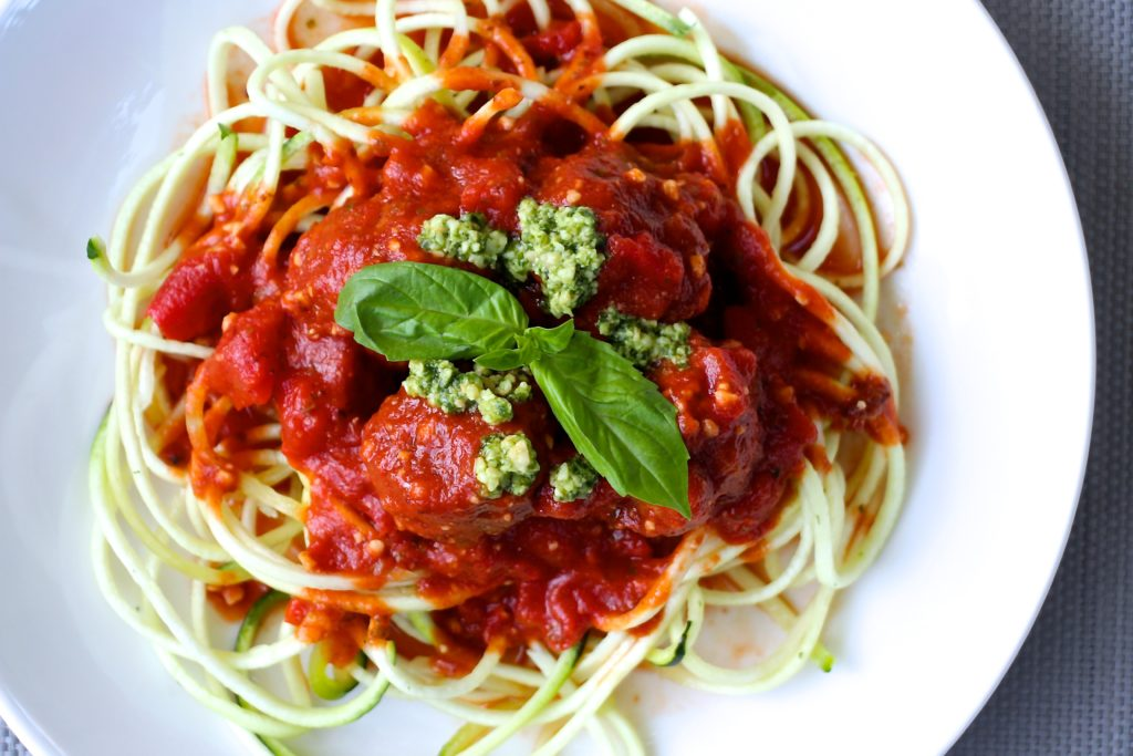 Pesto Meatballs in a Pesto-y Tomato Sauce – The Defined Dish