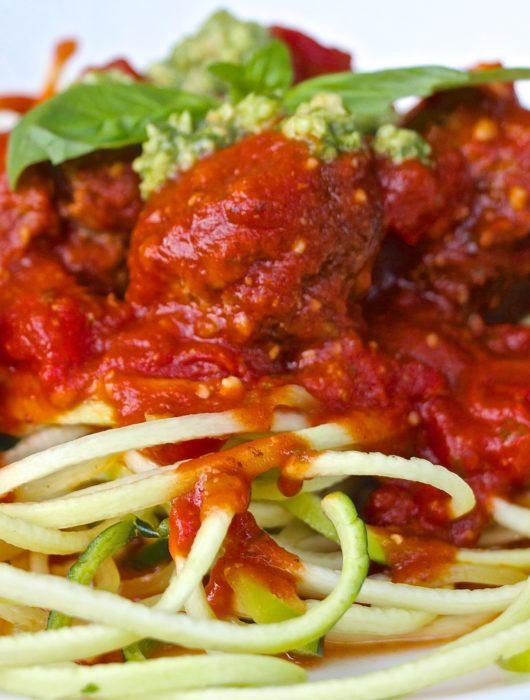 Pesto Meatballs in a Pesto-y Tomato Sauce