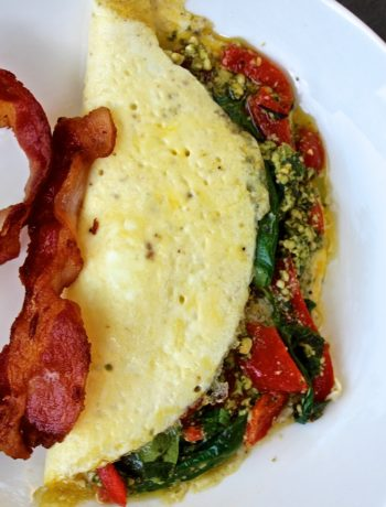 Roasted Red Pepper and Pesto Omelet