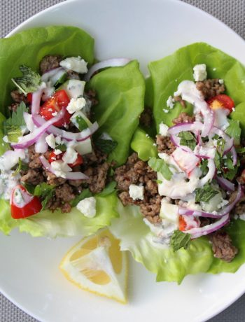 Greek Lamb Lettuce Cups with a Mint Yogurt Sauce