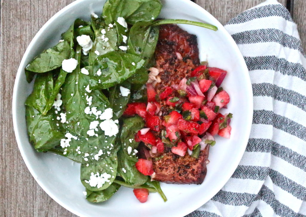 Grilled Salmon Salad with Strawberry-Jalapeño Salsa