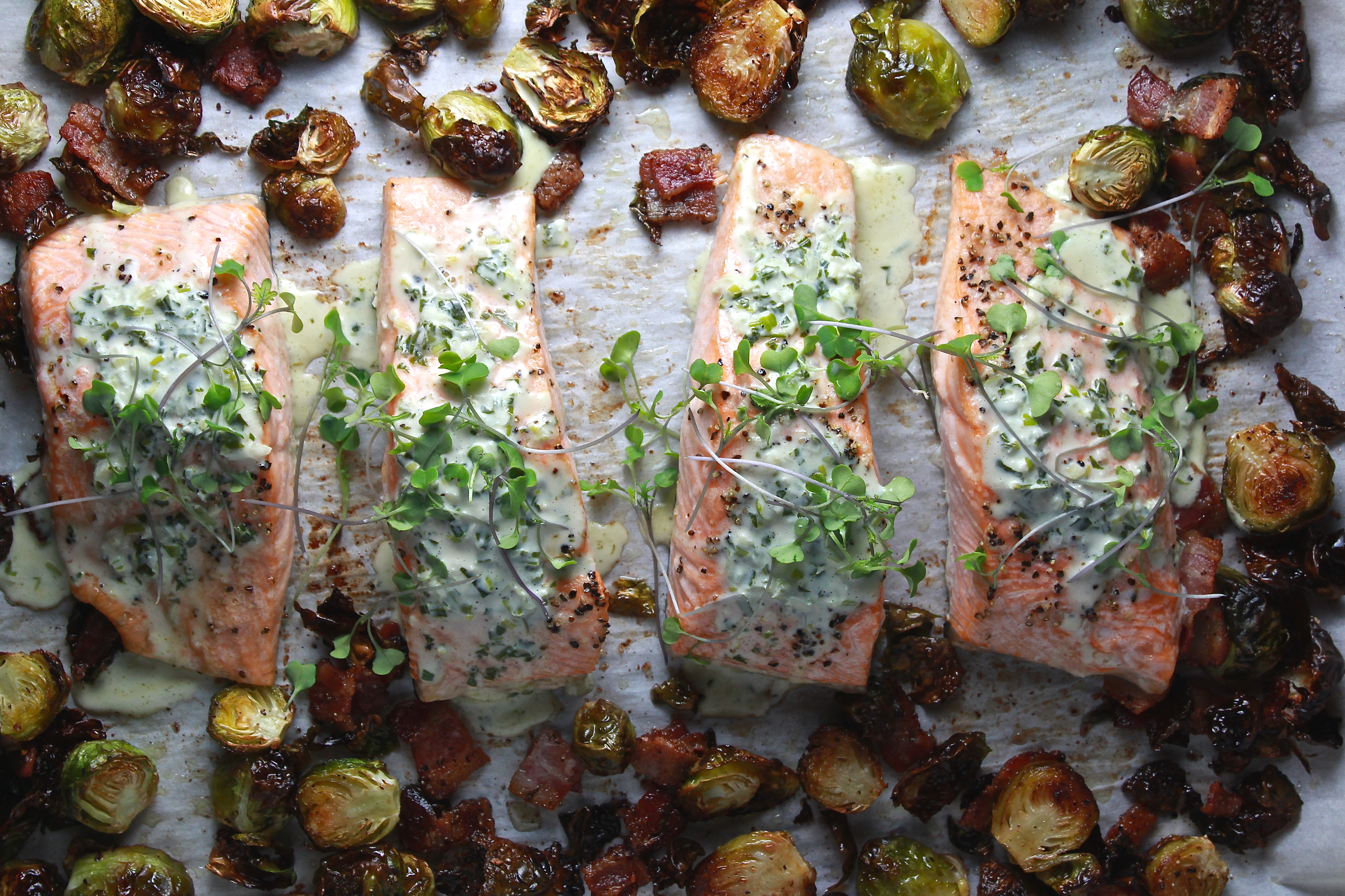 Sheet Pan Green Goddess Salmon with Bacony Brussels Sprouts