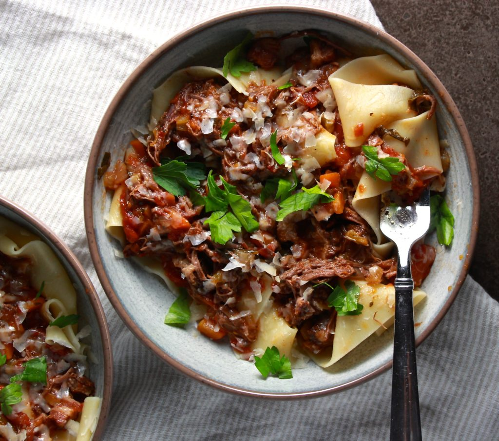Slow Cooker Short Rib Ragu over Pappardelle