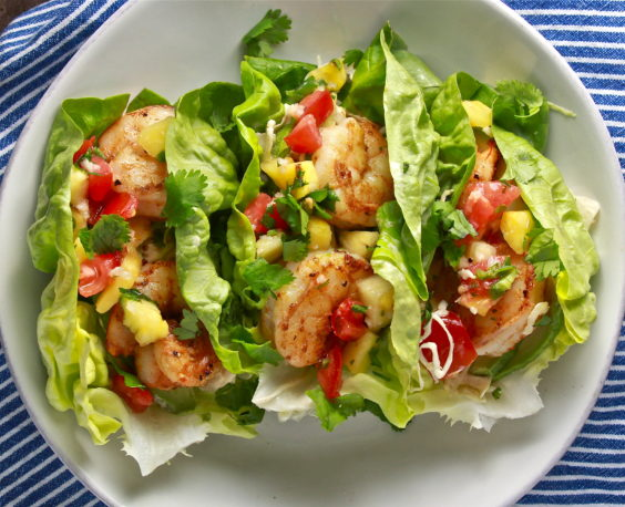 shrimp lettuce cup tacos with pineapple pico and chipotle lime coleslaw