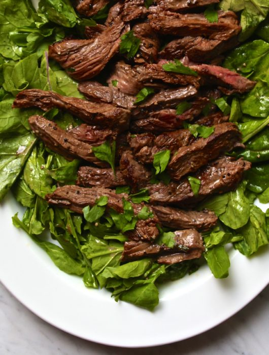 Mustard Marinated Flank Steak + Arugula Salad
