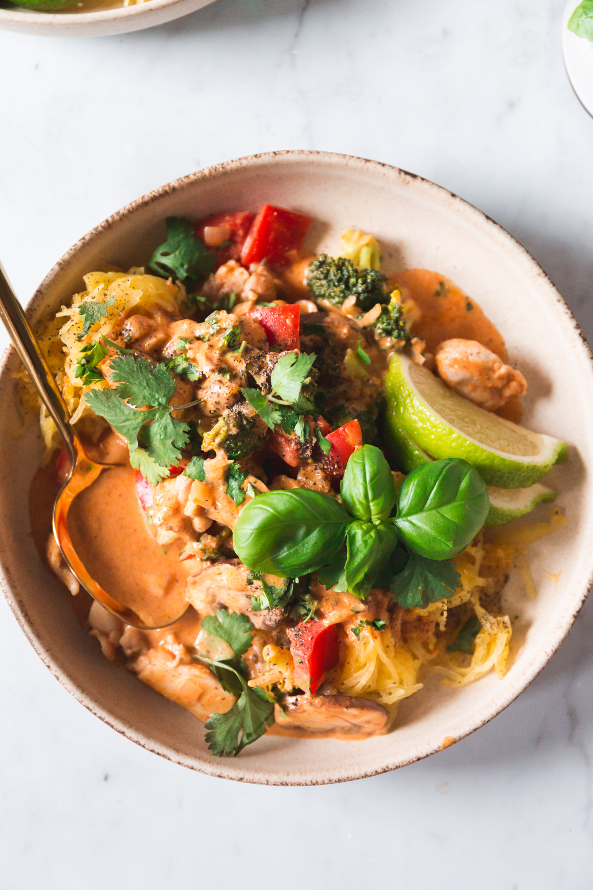 easy penang curry chicken + noodle bowls