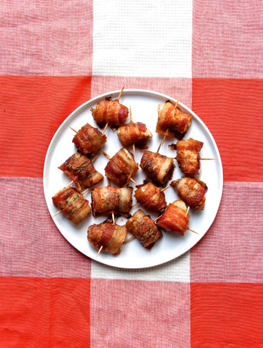 bacon wrapped chicken + jalapeño bites