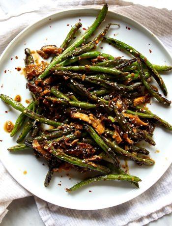 Stir-Fried Szechuan String Beans with Shiitake Mushrooms