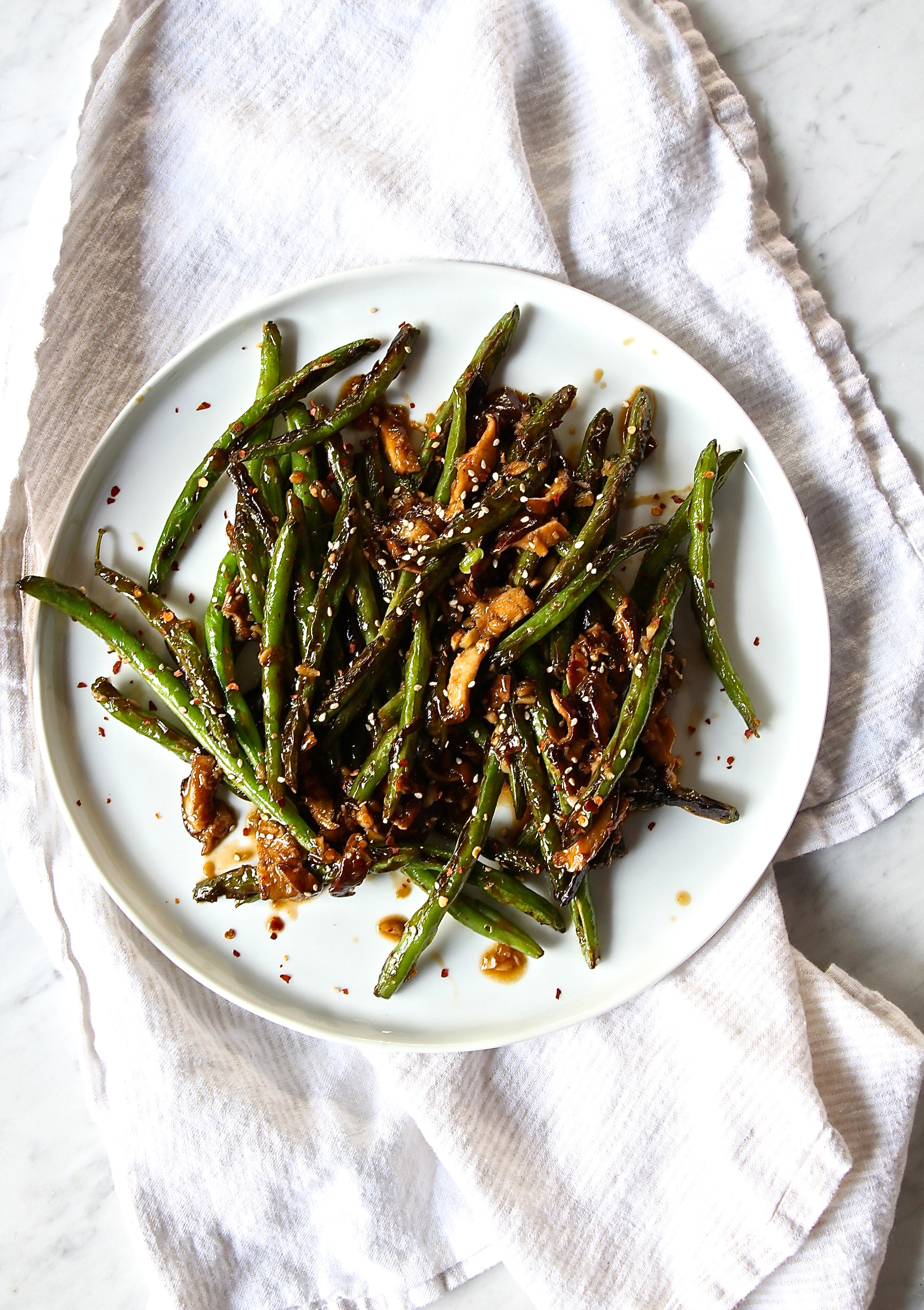 Stir-Fried Szechuan String Beans with Shiitake Mushrooms