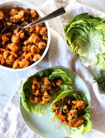 Thai Red Curry Shrimp Lettuce Wraps
