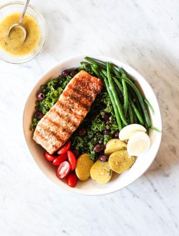 Salmon + Kale Niçoise Salad