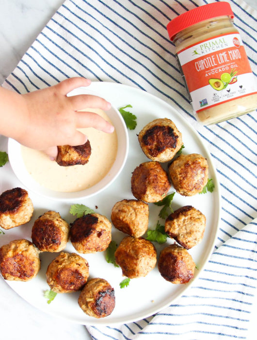 Turkey Taco Meatballs with Chipotle-Lime Aioli