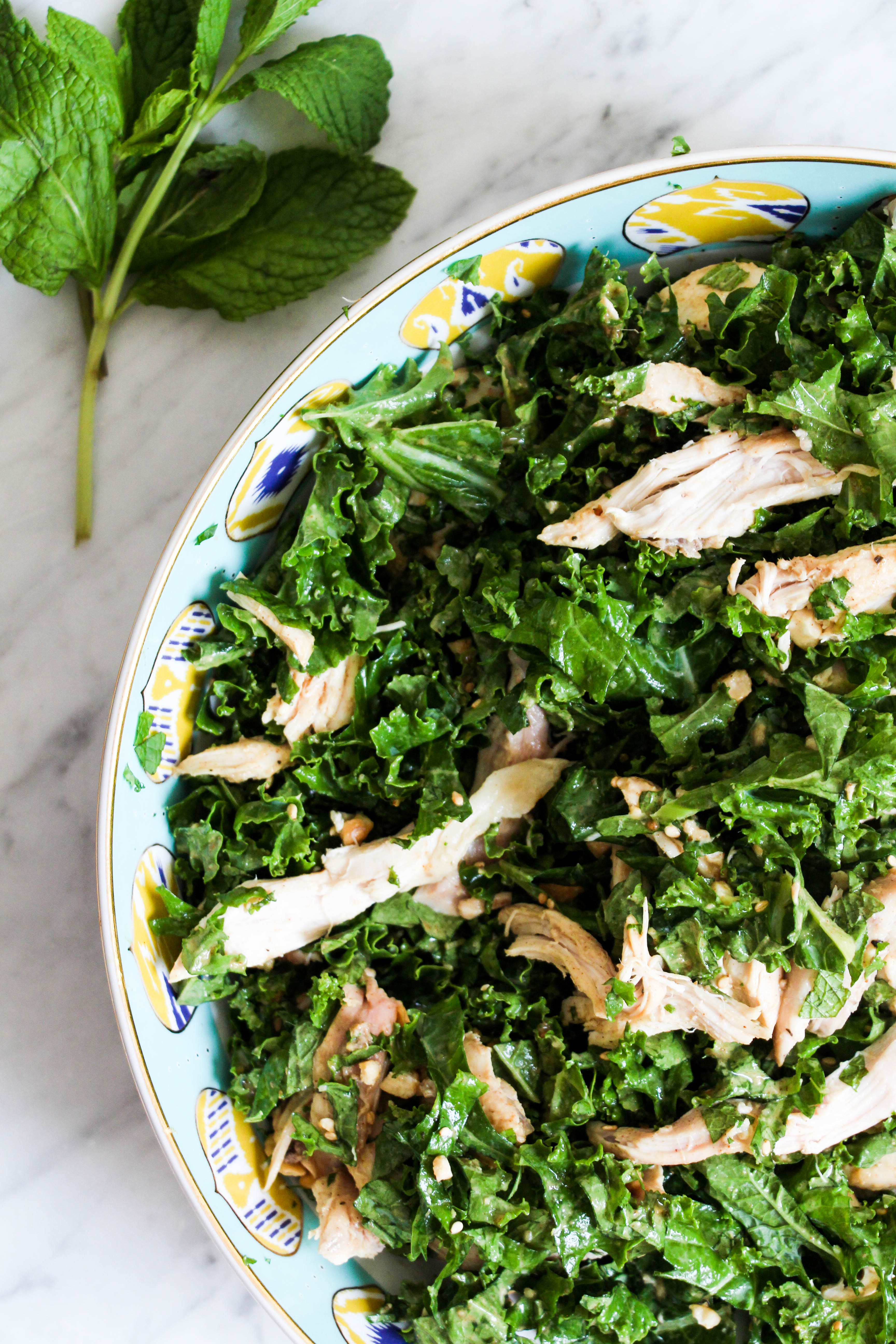 Kale and Mint Salad with 'Peanut' Vinaigrette
