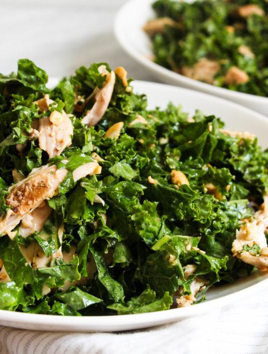 Kale and Mint Salad with 'Peanut' Vinaigrette