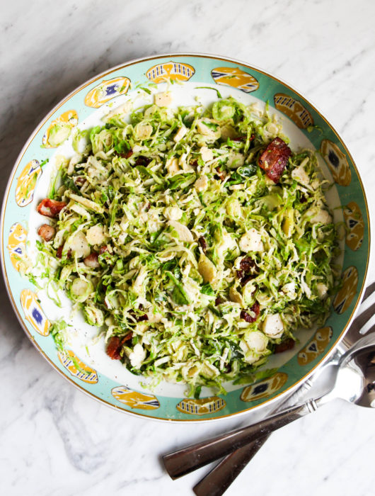 Warm Brussels Sprout + Bacon Caesar Salad