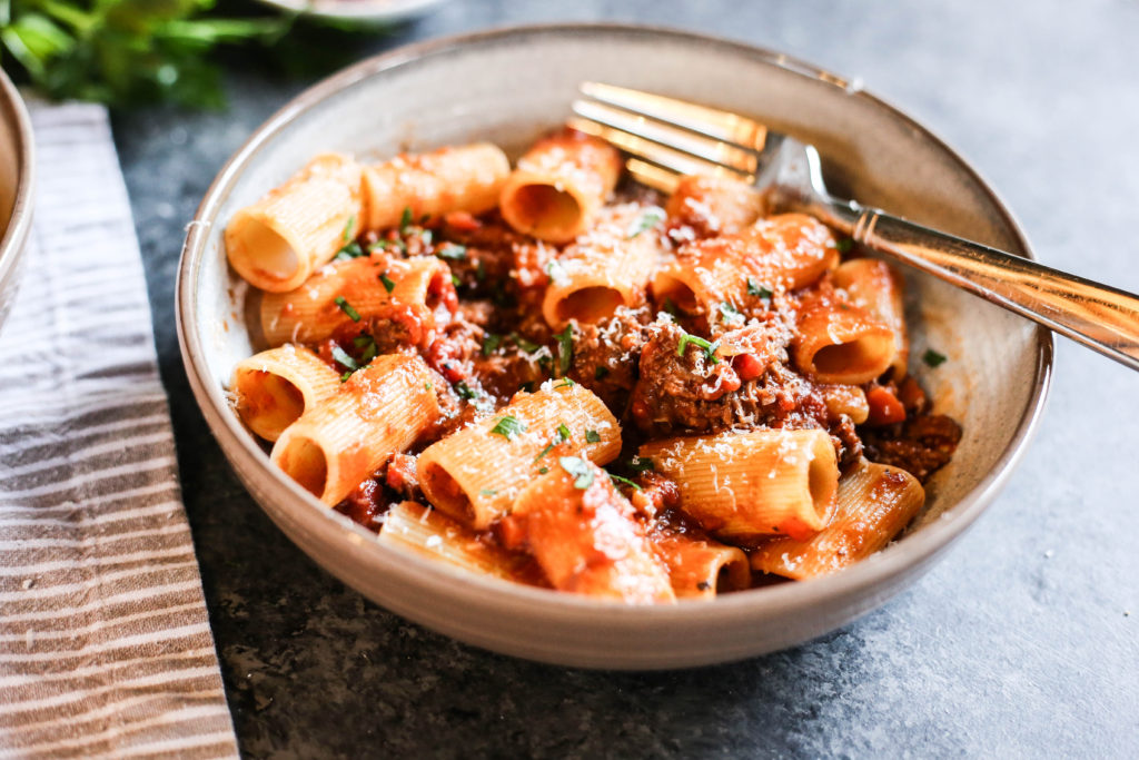 lamb ragu with rigatoni