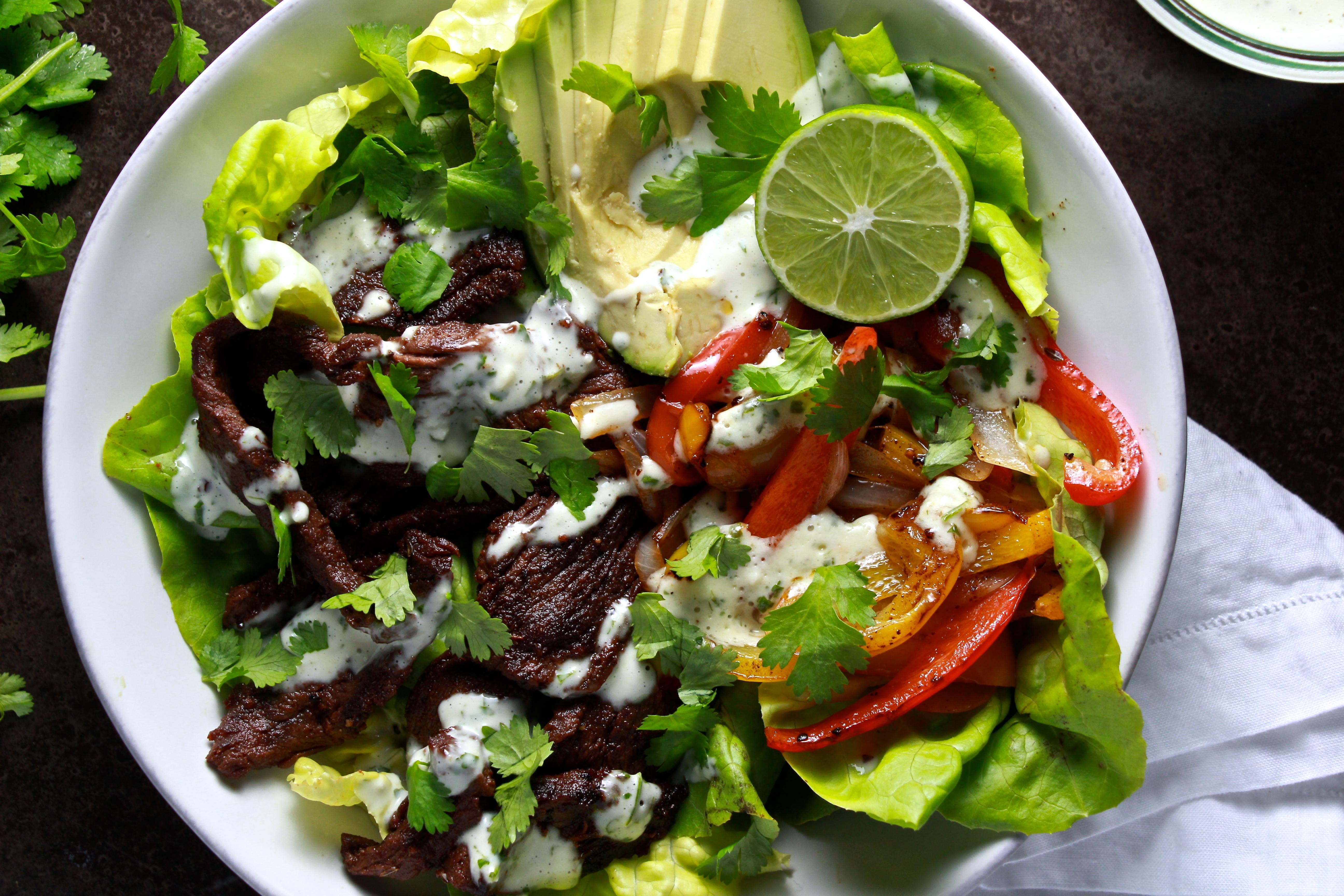 Steak Fajita Salad with Creamy-Cilantro Dressing