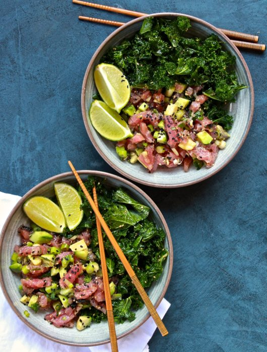 Tuna Poke and Sesame Kale Salad Bowls